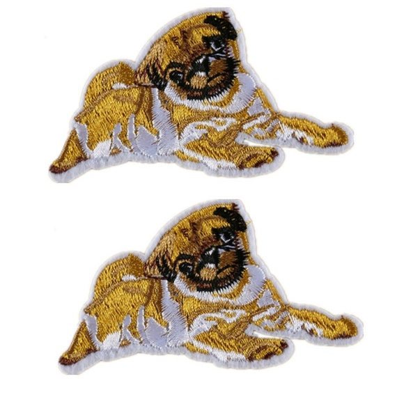 PUG HEAD Dog Lover Pet Small Embroidered Iron On Patch